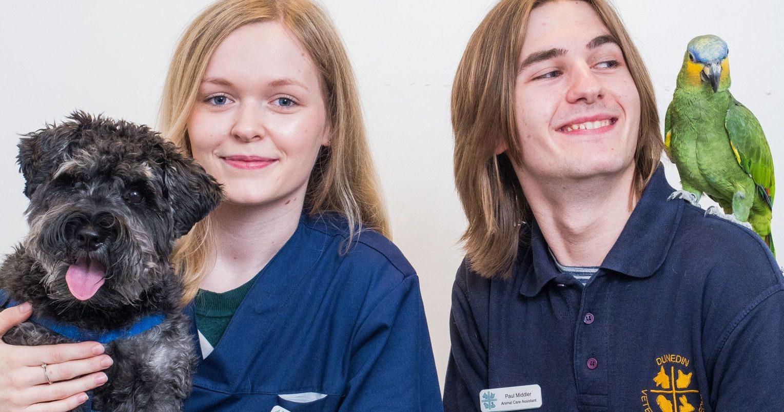 Dunedin Vets pair on path to dream career as veterinary nurses